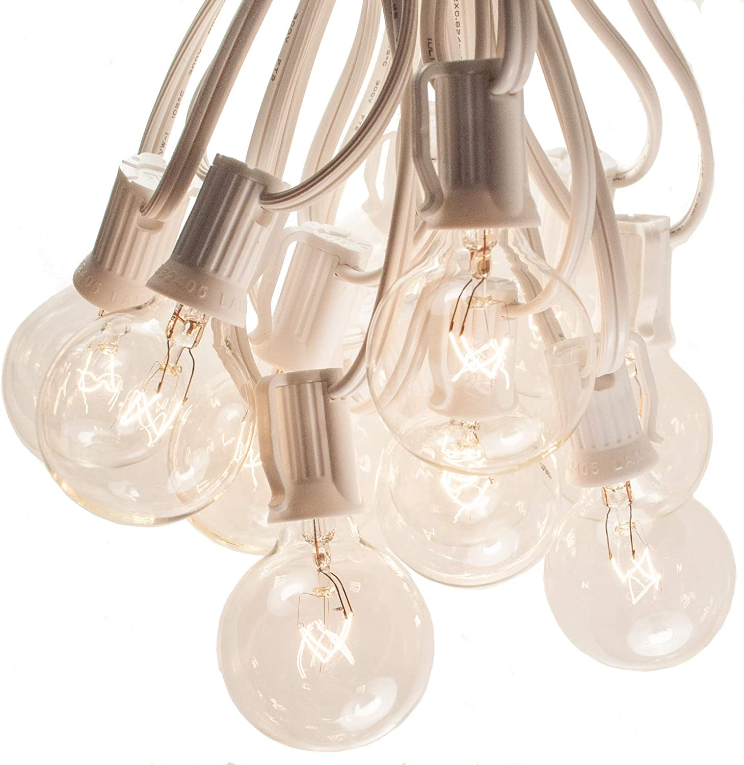50 Foot G40 Globe Patio String Lights with Clear Bulbs (White Wire) by Hometown Evolution, Inc.