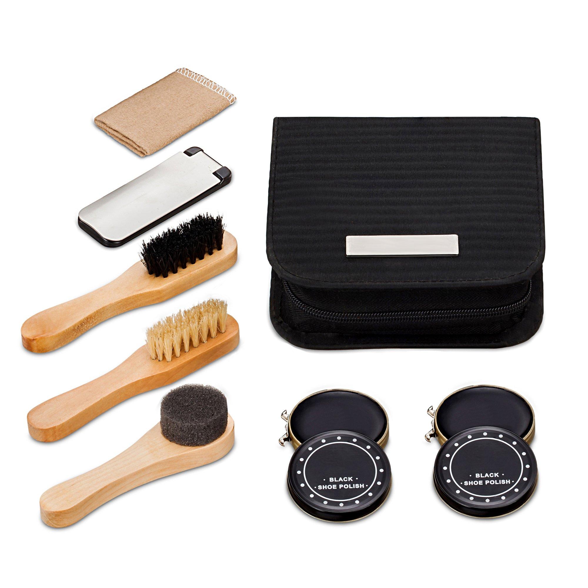 chuanyuekeji Shoe Shine Kit & Shoe Care Valet with PU Leather Sleek Elegant Case, 7-Piece Travel Shoe Shine Brush kit (Black) by chuanyuekeji (Image #4)