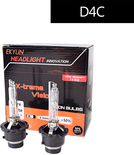 EKYLIN Car Auto D4C D4S D4R Xenon Head Lights HID Lamps Replacement Bulb 6000K High Brightness Diamond White Headlight with Metal Chassis 35W 12V (Pack of 2) D4C Compatible with D4S D4R