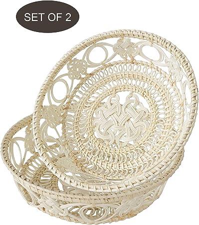 Made Terra Juego de 2 cuencos de cesta de frutas de pan de mimbre | Tazones