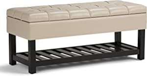 SIMPLIHOME Saxon 44 inch Wide Rectangle Storage Ottoman Bench with Open Bottom and Lift Top in Satin Cream Tufted Footrest Stool, Faux Leather for Living Room, Bedroom, Traditional