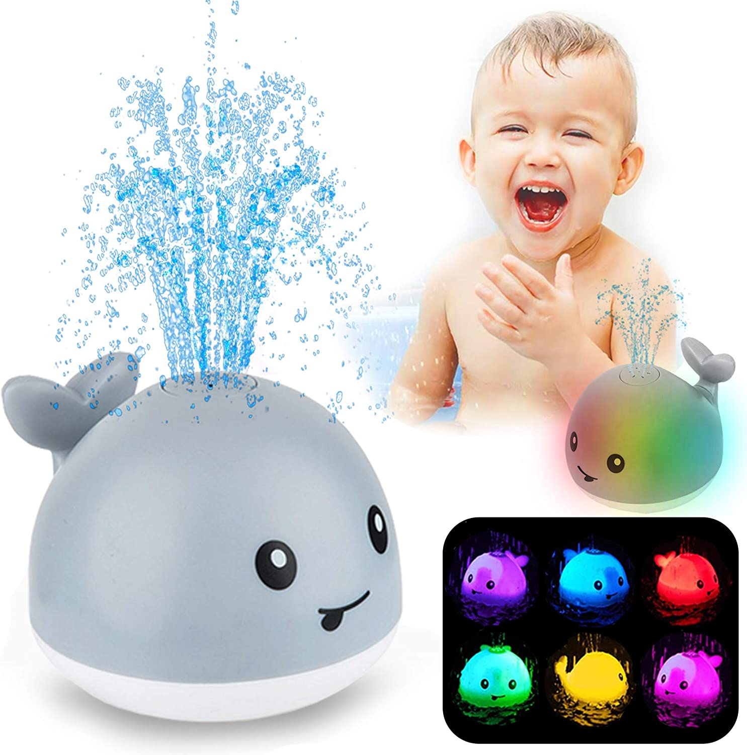 Bath Toy For kids,Whale Auto Water Spray Toy With Seven Kinds Of Flashing Light For Toddlers,Induction Soft light and Water Fountain Shower Toy Ideal Gifts For 1 2 3 4 5 6 Years Old Boys Girls.