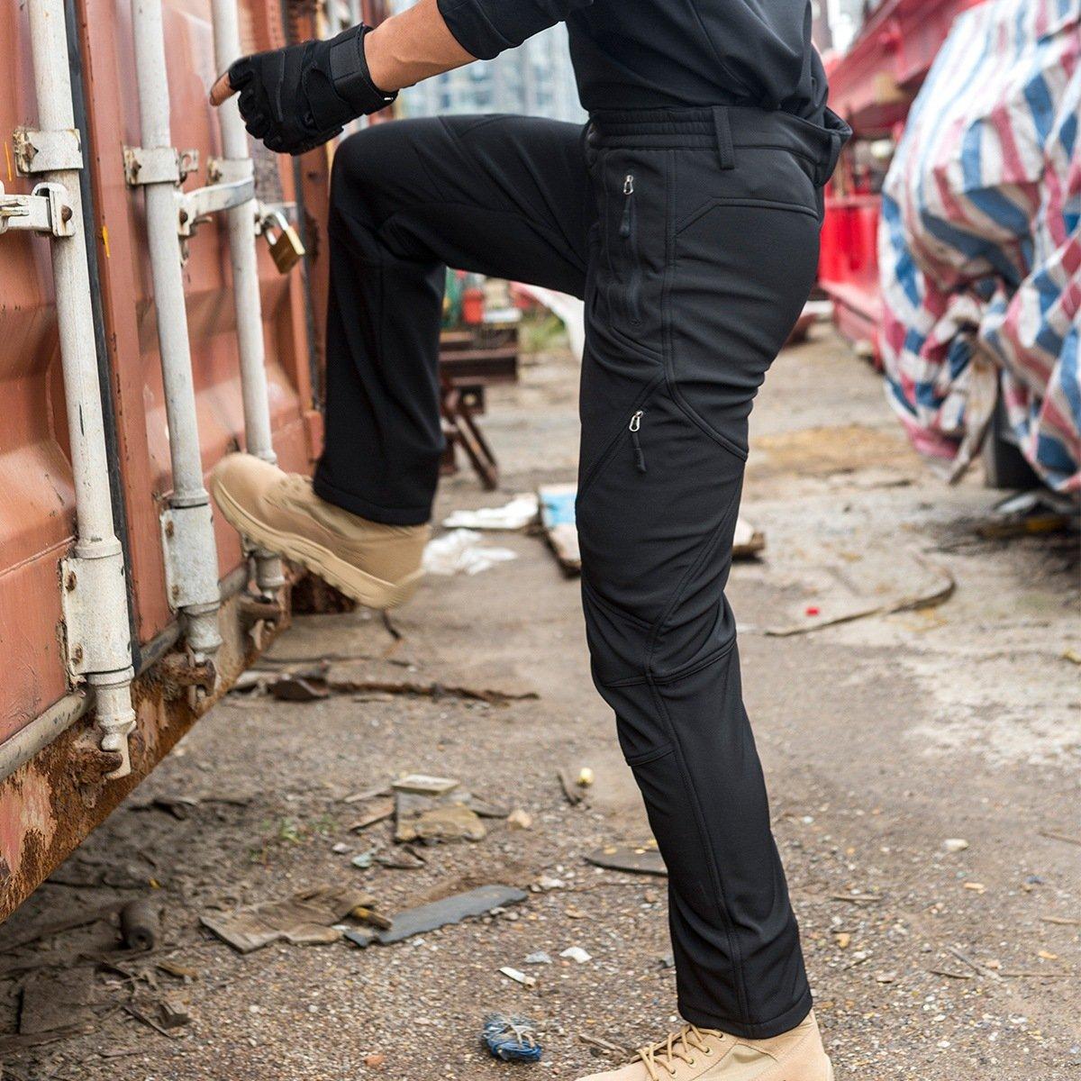 para Escalada y Senderismo Pantalones Softshell para Hombre FREE SOLDIER con Forro Impermeables y Cortavientos