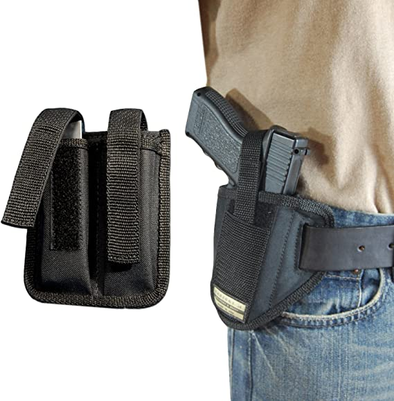 Barsony New 6 Position Ambidextrous Pancake Holster w/Dbl Mag Pouch for Full Size 9mm 40 45