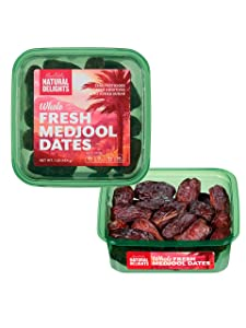 Natural Delights Fresh Medjool Dates (1 lb.) | Great Snacks for Adults and Kids | Non-GMO Verified | Superfood | No Sugar Added | Good Source of Fiber | 16 Vitamins & Minerals