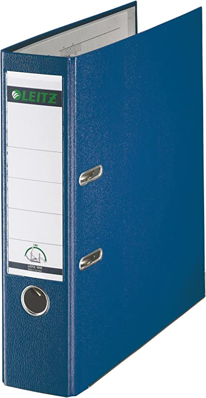 LEITZ 10105035 - Archivador de palanca plástico forrado 180º A4 DIN A4. Lomo 80 mm. color azul: Amazon.es: Oficina y papelería