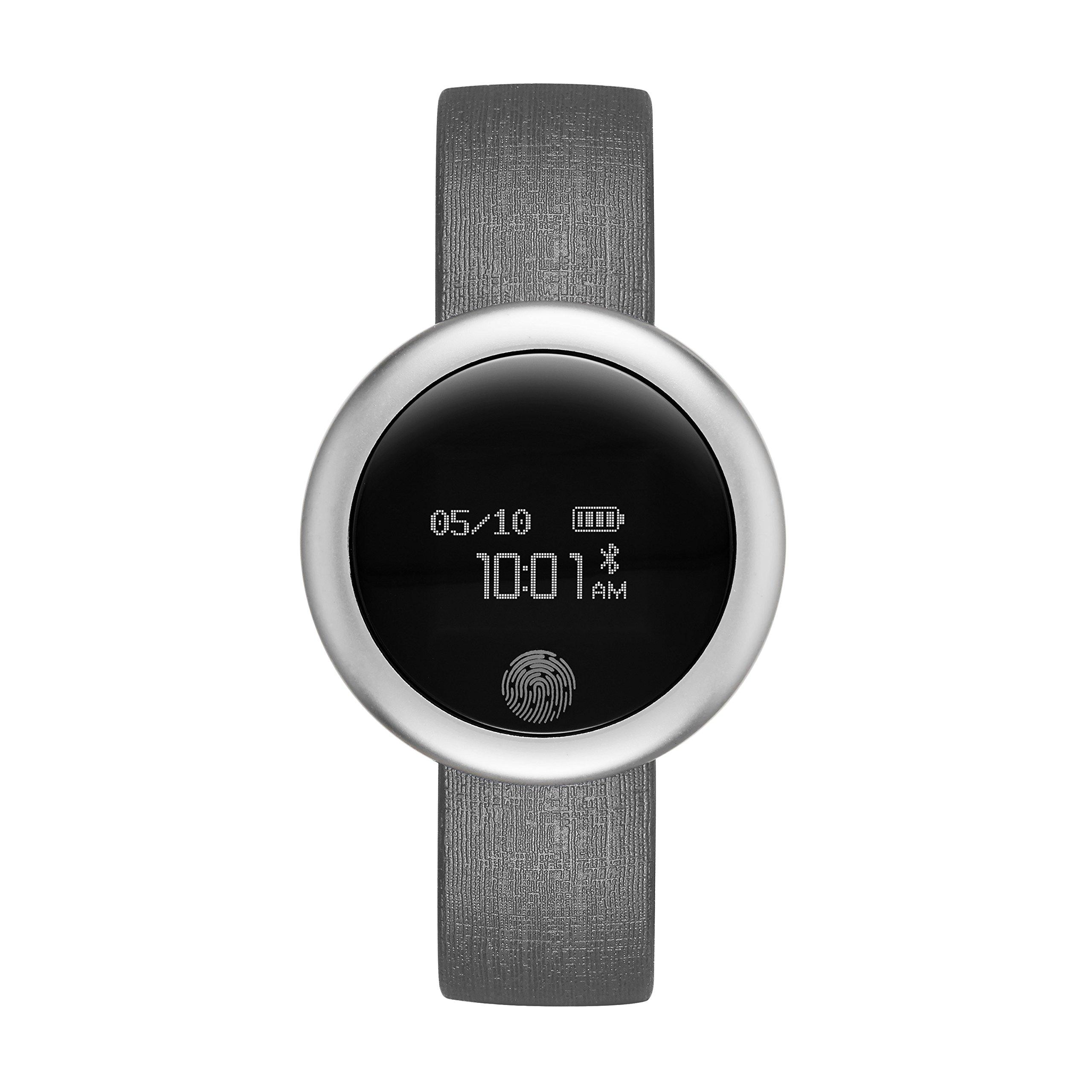 Emotion Unisex Metal and Rubber Smartwatch, Color: Silver-Tone, Grey (Model: FMDEM001)