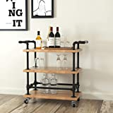WGX Design For You Industrial 3 Tiers Rolling Carts Serving Carts Kitchen Carts Wine Rack Carts on Wheels with Storage - Soli
