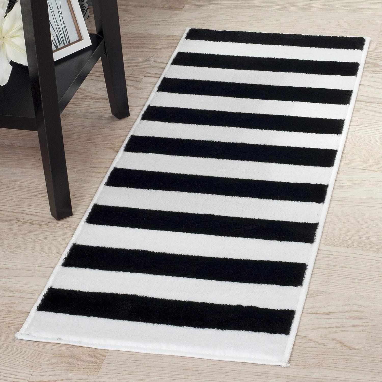 Amazoncom Lavish Home Breton Stripe Rug 18 By 5 Blackwhite