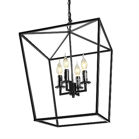 Jinguo Lighting 4 Lights Foyer Pendant With Lantern Style Cage Fram