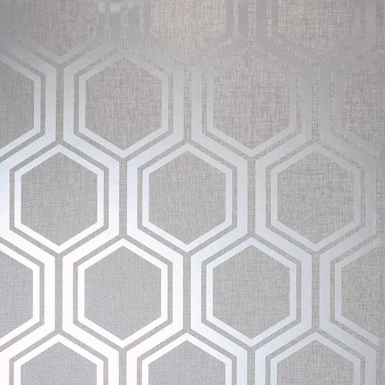 Arthouse 910206 Papier peint hexagonal Textures Argent/é