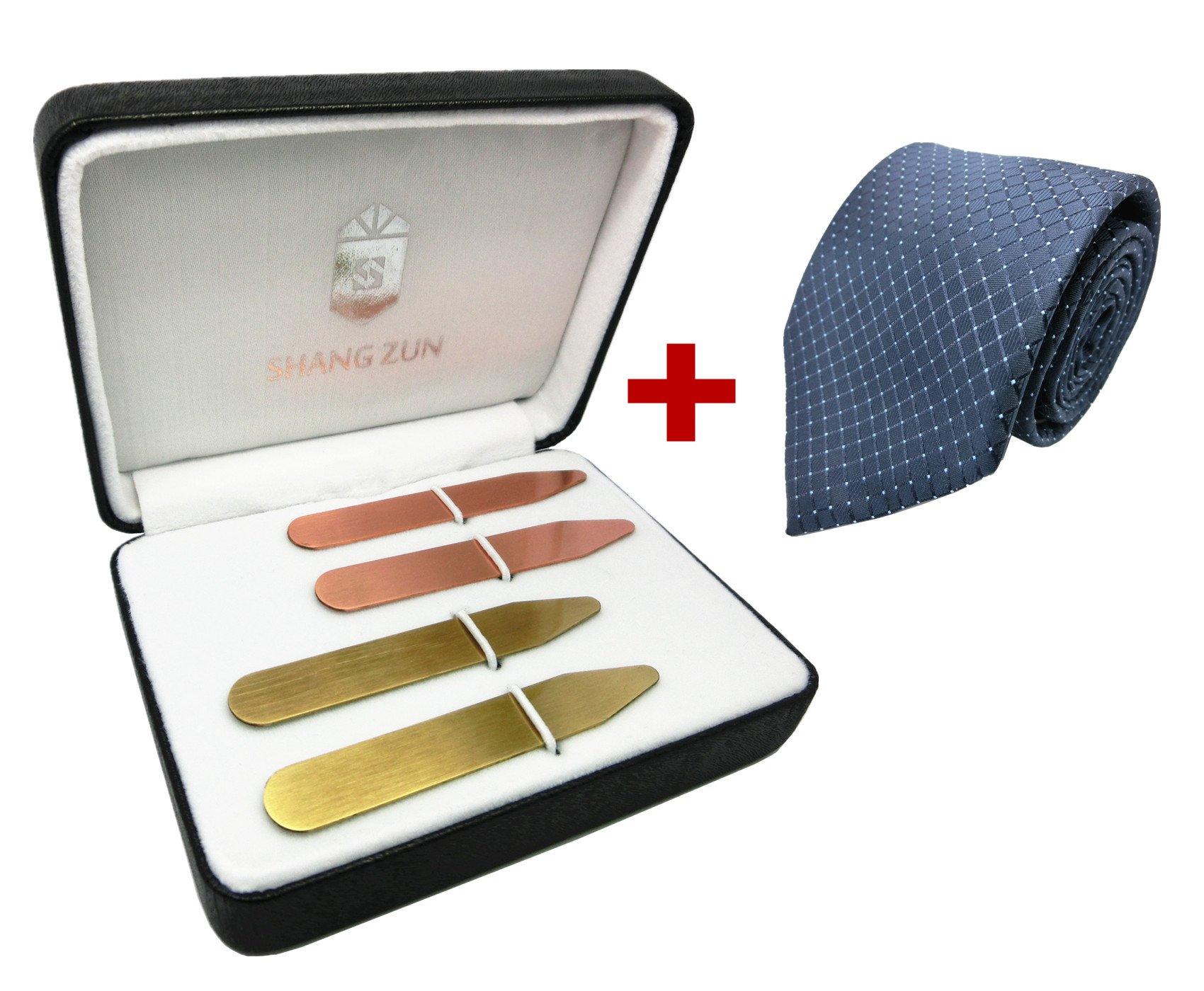 Shang Zun 4 Pcs Yellow & Red Brass Collar Stays in Gift Box + Free Tie