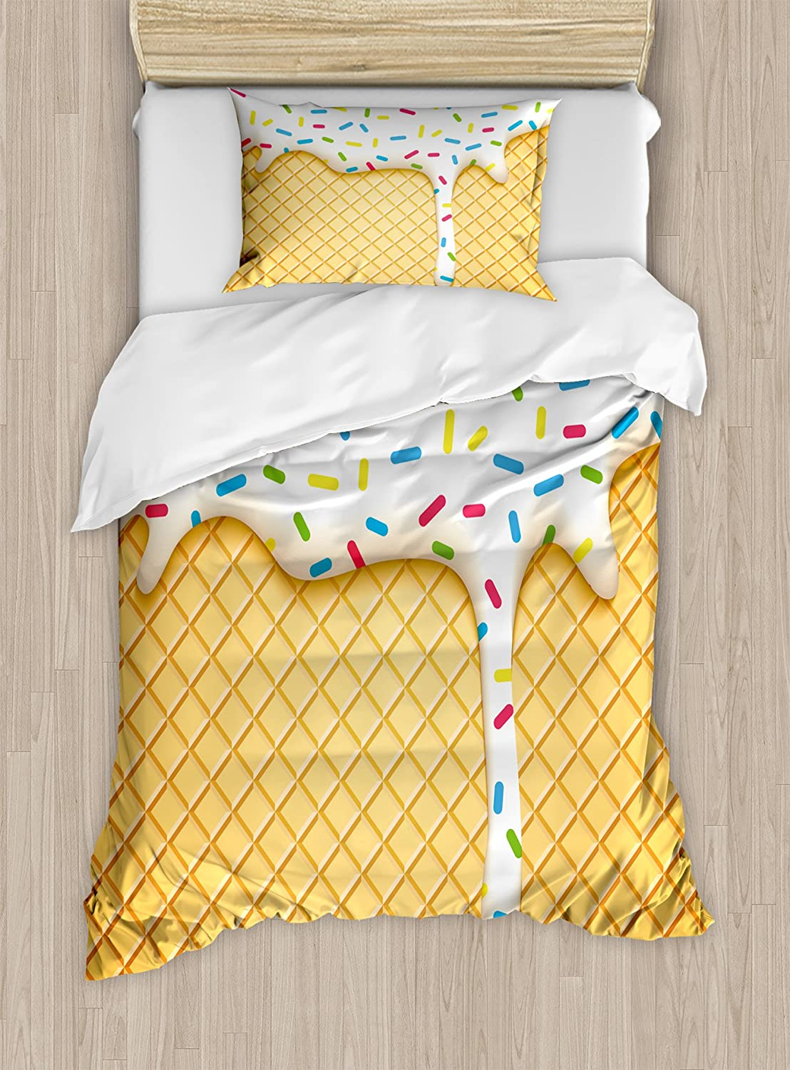 Ambesonne Food Duvet Cover Set, Cartoon Like Image of and Melting Ice Cream Cones Colored Sprinkles Print, Decorative 2 Piece Bedding Set with 1 Pillow Sham, Twin Size, Yellow White