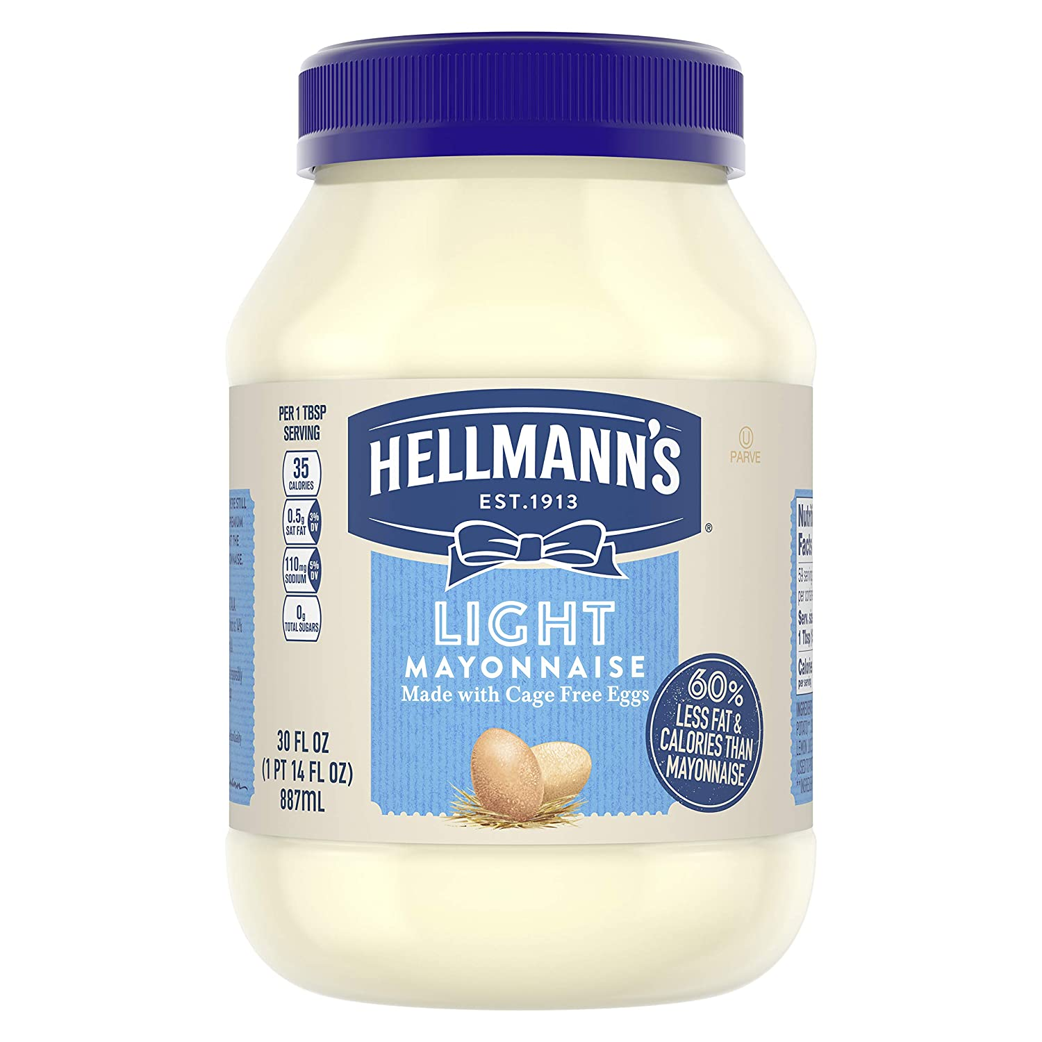 Hellmann's Mayonnaise For a Creamy Condiment Light Mayo Made With 100% Cage-Free Eggs 30 oz