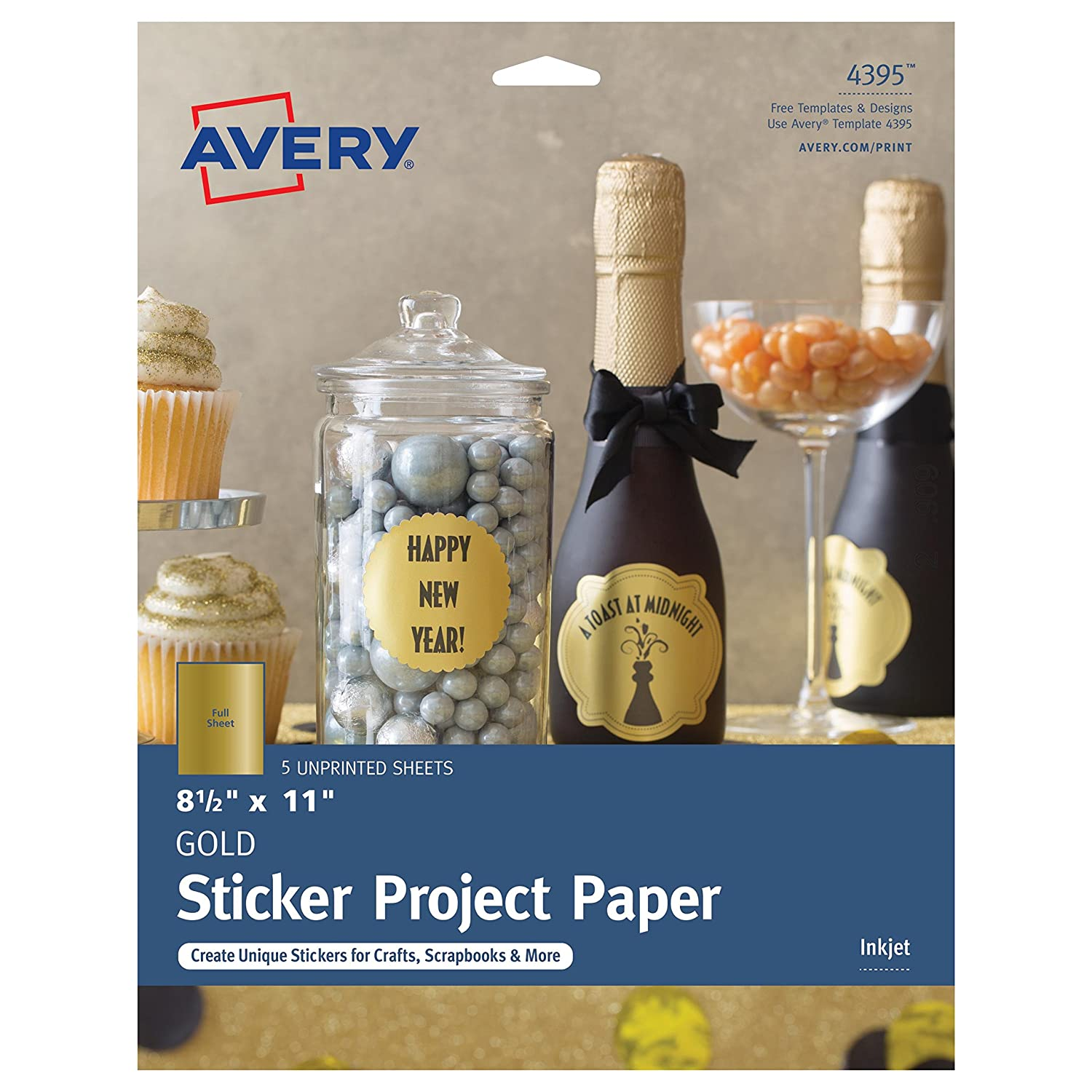 Avery Sticker Project Paper, Repositionable Adhesive, Matte Clear, 8-1/2