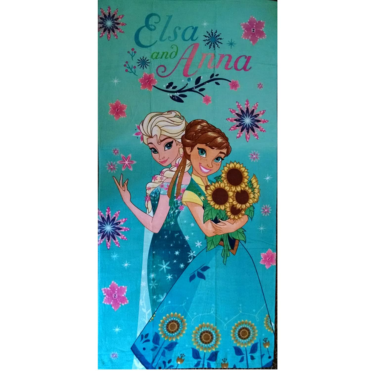 Disney Frozen Fever Anna and Elsa Summer Solstice Beach Large Bath Towel