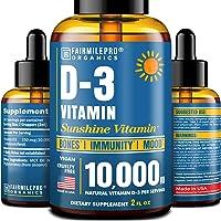 Vitamin D 10,000 IU - Vitamin D3 for Immune Support & Healthy Bones - Made in USA - High Potency Vitamin D Supplements - D3 Vitamin with MCT Oil - Vegan & Non-GMO - 2 fl oz