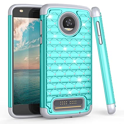 Moto Z2 Play Case, Motorola Z Play (2nd Gen) Cute Case For Girls, TILL(TM) Studded Rhinestone Crystal Bling Diamond Sparkly Luxury Shock Absorbing ...