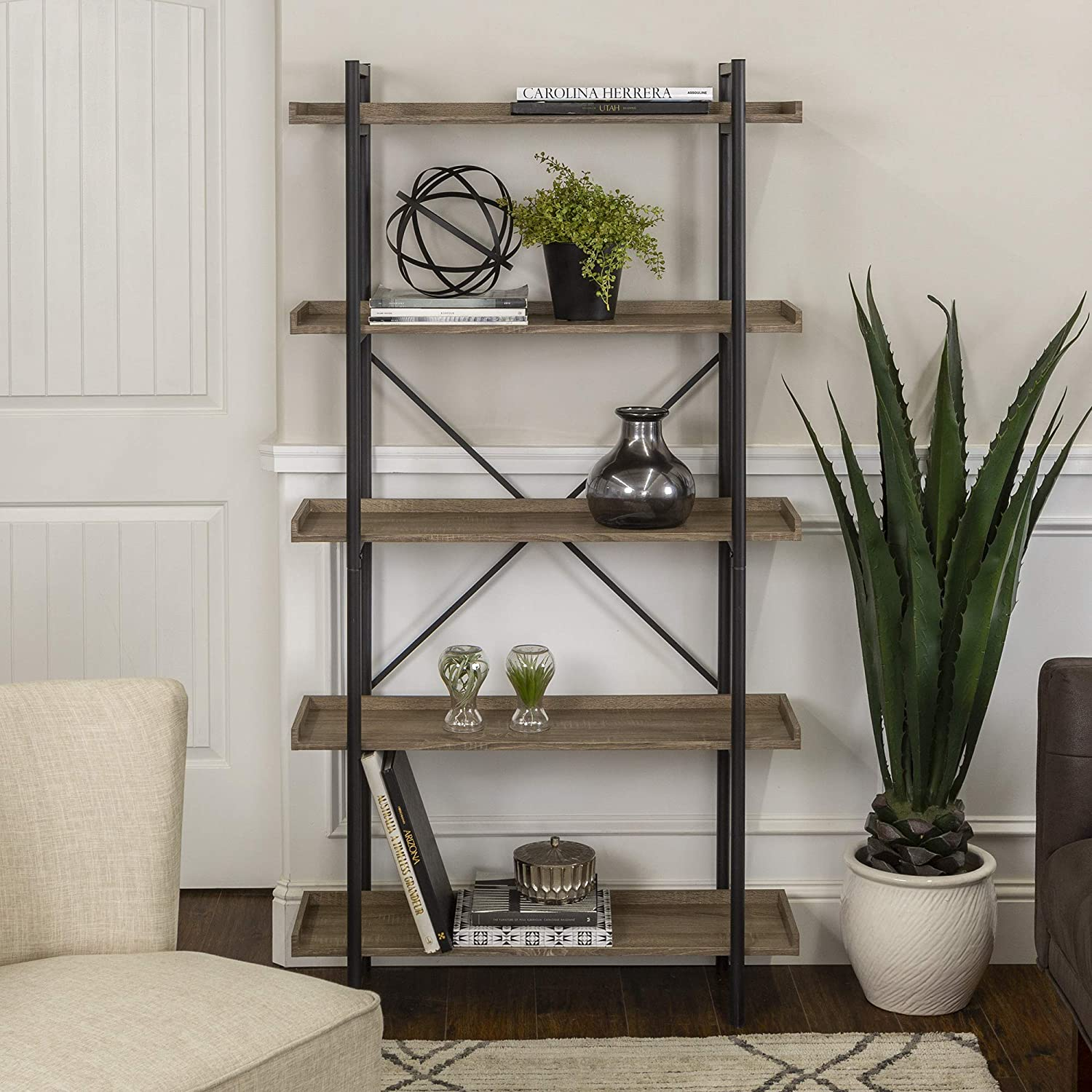 "WE Furniture 68"" Urban Pipe Bookshelf, Driftwood"