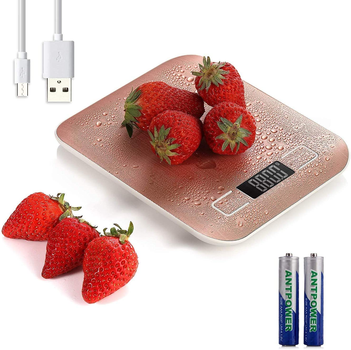 5kg/11lb Digital Kitchen Food Scale USB Rechargeable Stainless Steel Ultra Slim Food Scale High Precision with 0.04oz/1g Division Tare & Auto Off Function LCD Display (Rose Gold)