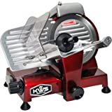 "KWS Premium 200w Electric Meat Slicer 6""(Red) Stainless Steel Blade, Frozen Meat/ Cheese/ Food Slicer Low Noises"