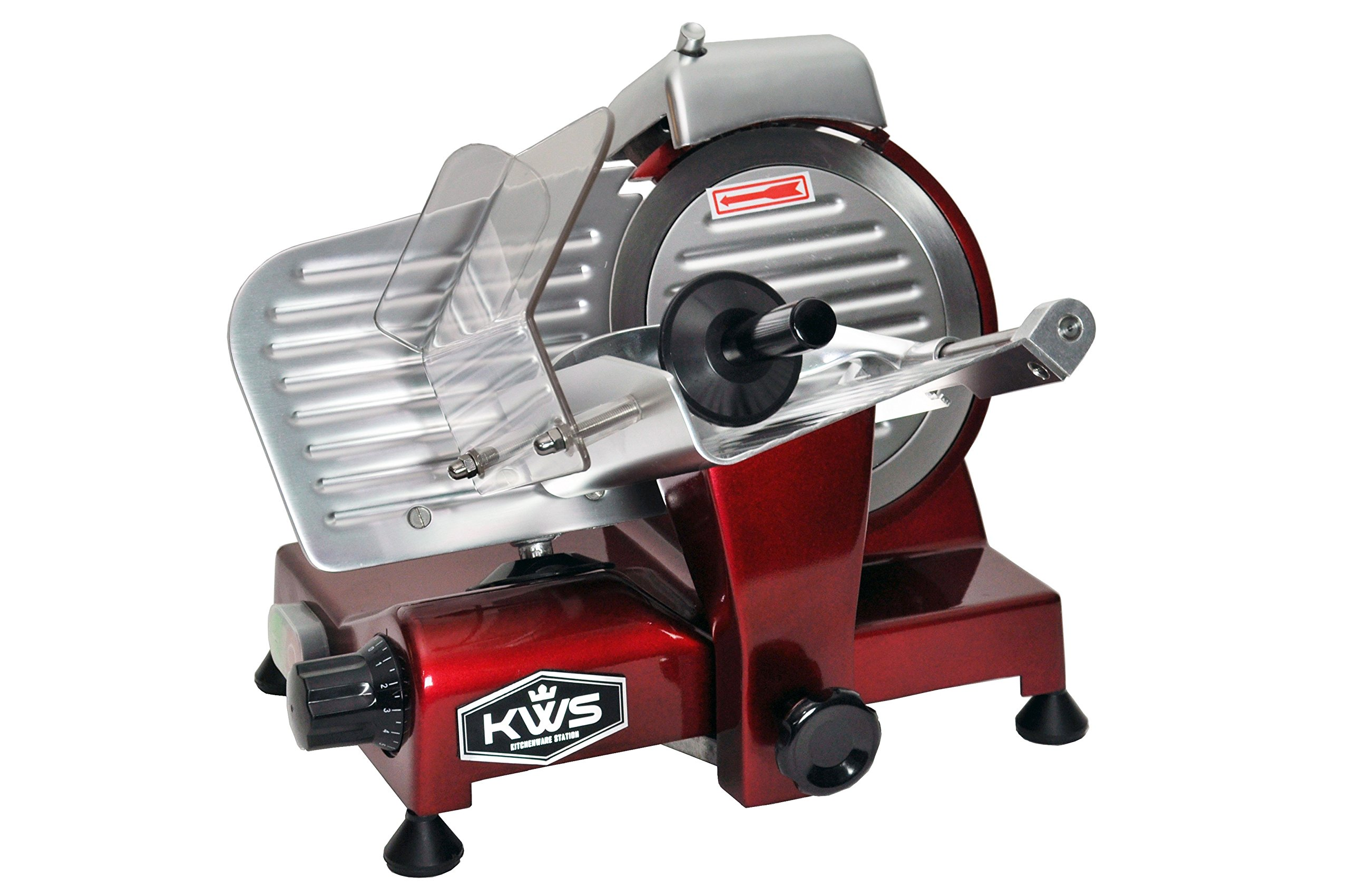 KWS Premium 200w Electric Meat Slicer 6''(Red) Stainless Steel Blade, Frozen Meat/ Cheese/ Food Slicer Low Noises