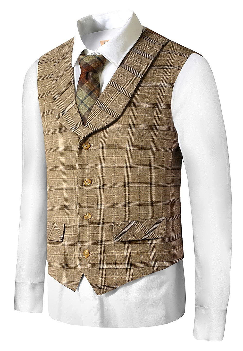 1900s Edwardian Men's Suits and Coats Hanayome Mens Gentleman Top Design Casual Waistcoat Business Suit Vest VS17 $28.50 AT vintagedancer.com