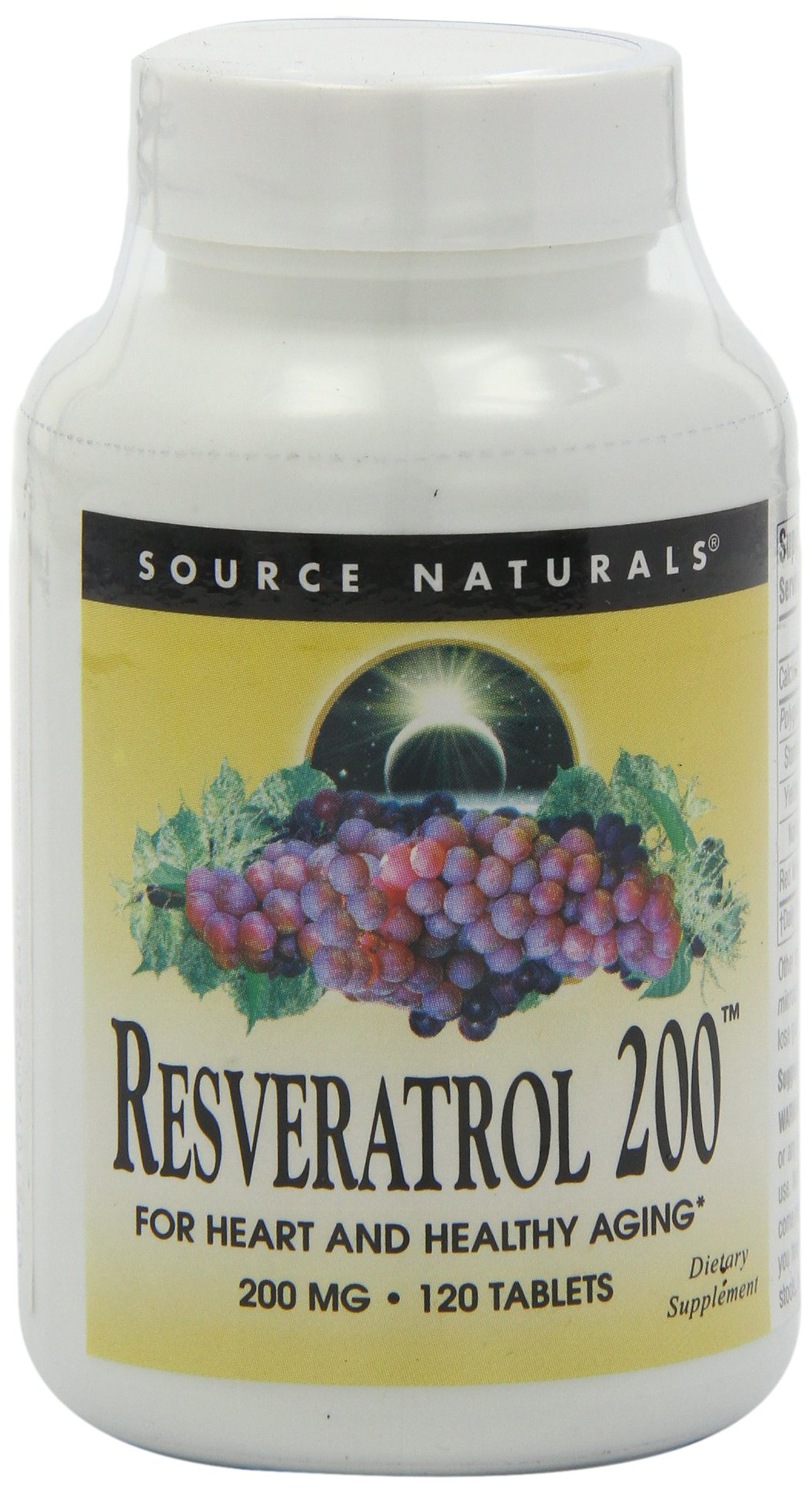 Source Naturals Resveratrol 200mg For Heart & Healthy Aging - Maximum Strength, Natural Antioxidant, Anti-Inflammatory Supports Immune Health & Joint Pain Relief - 120 Tablets