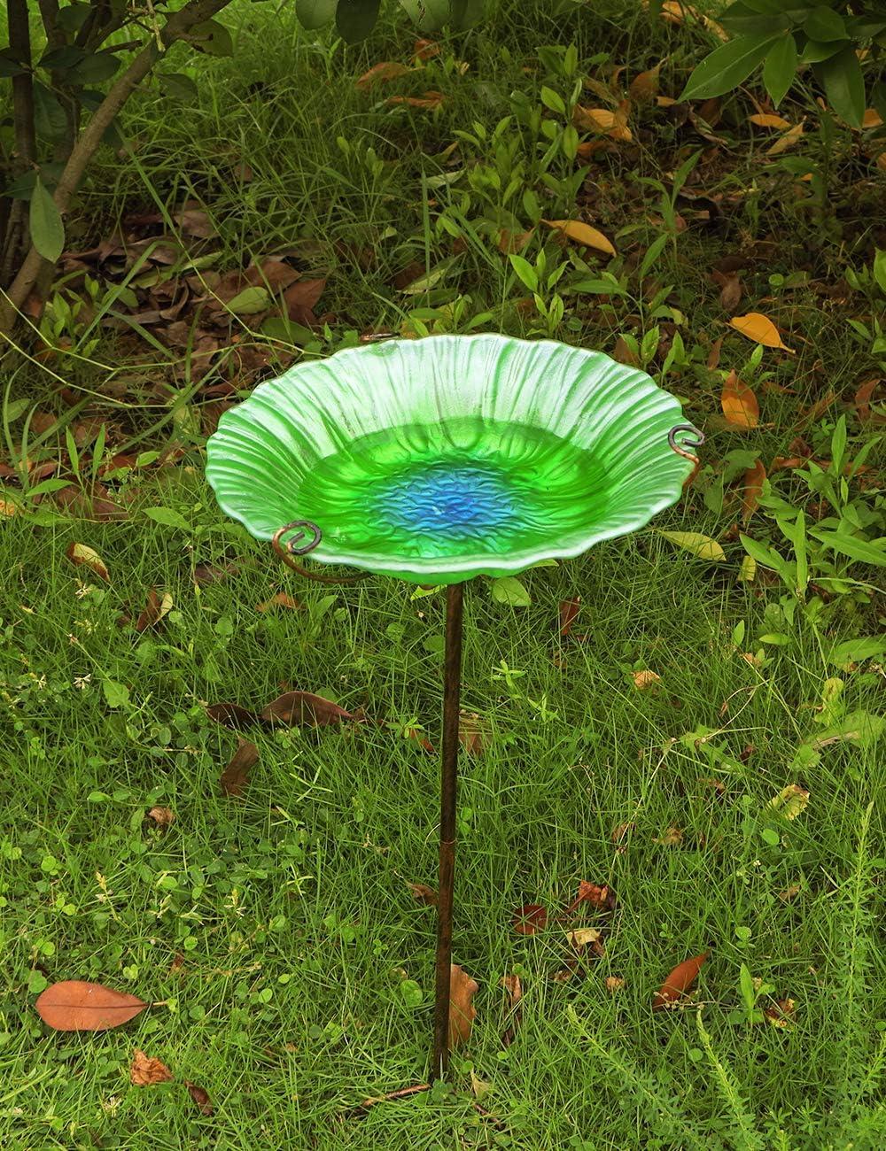 MUMTOP 26-Inch Height Glass Birdbath with Metal Stake