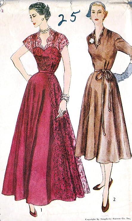 Amazon.com: Simplicity 8444 Vintage Misses 1950\'s Evening Dress ...
