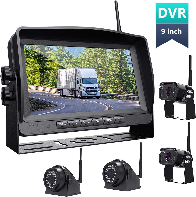 Wireless Backup Camera with 9''HD 1080P Monitor rv/Camper/Motorhome/Trailer//Truck/Pickup/Van 4 Rearview Cameras IP69K Waterproof 152° Wide View Super Night Vision Xroose FW904