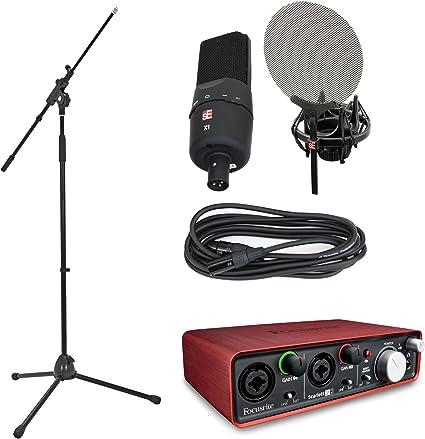 Se Electronics x1 Pack, vocales y Focusrite Scarlett 2I2, JB de interfaz de audio de micrófono boom Soporte, y JB de cables: Amazon.es: Instrumentos musicales