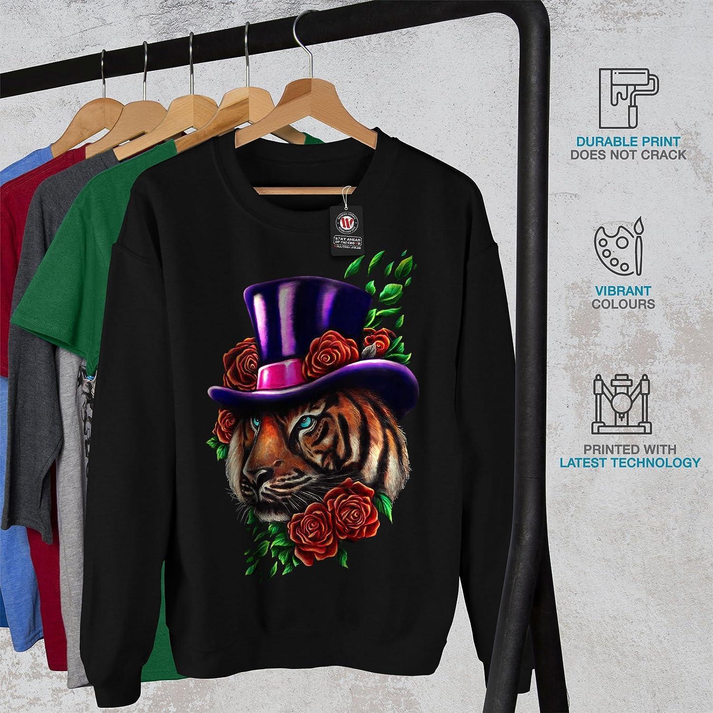 wellcoda Tiger Flower Hat Animal Mens Sweatshirt Casual Jumper