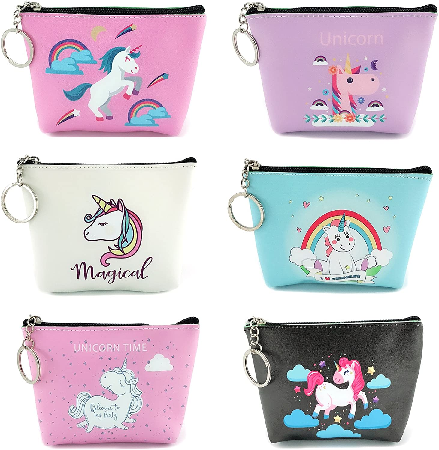 Elesa Miracle 6pc Women Girl Unicorn Zipper Coin Purse Clutch Pouch Wallet Value Set