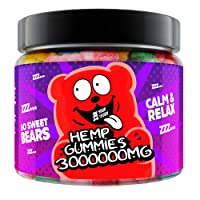 Gummies for Sleep, Pain, Anxiety, Stress & Inflammation Relief, 300 000 - High Potency - Natural Premium Oil Extract - Candy Gummy Bears with Organic Oil - Infused Supplements (60 Count (Pack of 1))