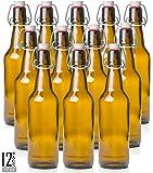 Estilo Swing Top Easy Cap Glass Beer Bottles, Amber, 16 oz, Set of 12