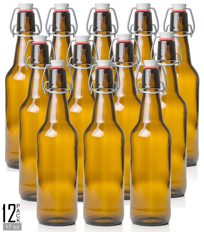 Estilo Swing Top Easy Cap Glass Beer Bottles, Amber, 16 oz, Set of 12 EST2678