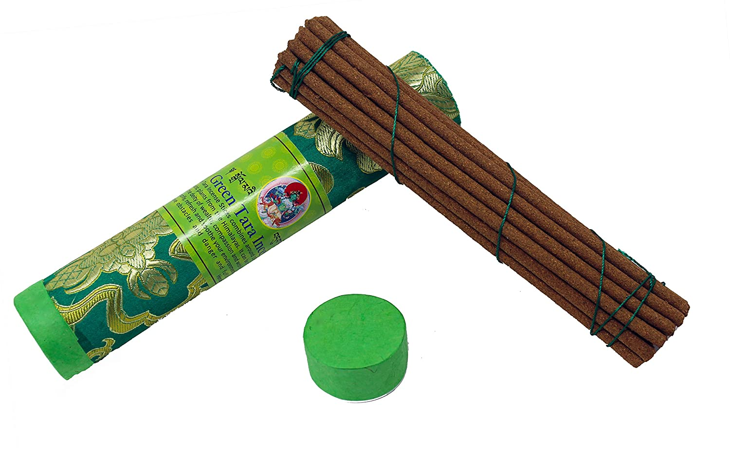 Juccini Tibetan Incense Sticks ~ Hand Rolled Green Tara Incense Made from Organic Himalayan Herbs for Prosperity and Good Luck (Green Tara)