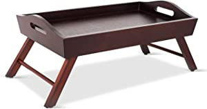 BirdRock Home Wood Bed Tray with Folding Legs - Wide Breakfast Serving Tray Lap Desk with Sides and Handles - Walnut