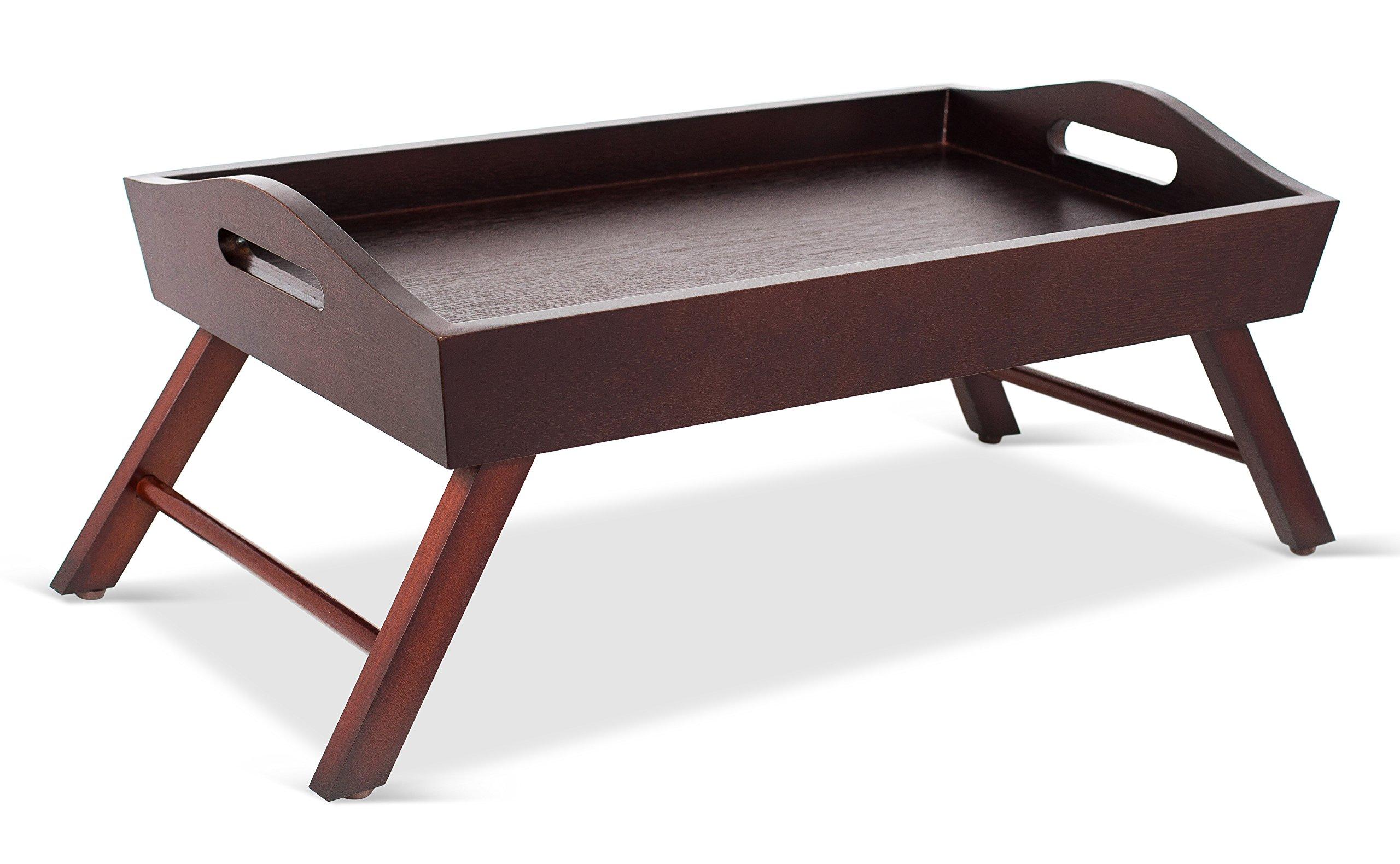 BirdRock Home Wood Bed Tray Folding Legs   Wide Breakfast Serving Tray Lap Desk Sides Handles   Walnut