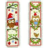 Vervaco - Juego de punto de cruz para confeccionar marcadores de libros (2 unidades, diseño de búhos con gorro de Papá Noel)