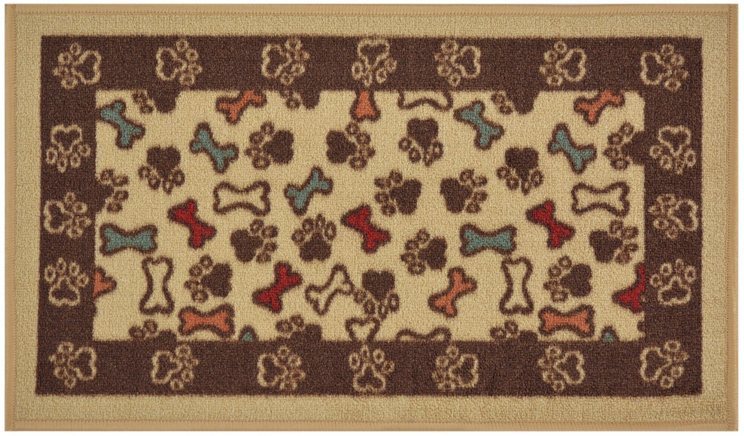 Pet Collection Bones and Paws Mat Doormat Beige Multi Color Slip Skid Resistant Rubber Backing (Beige, 17'' x 30'' Mat)