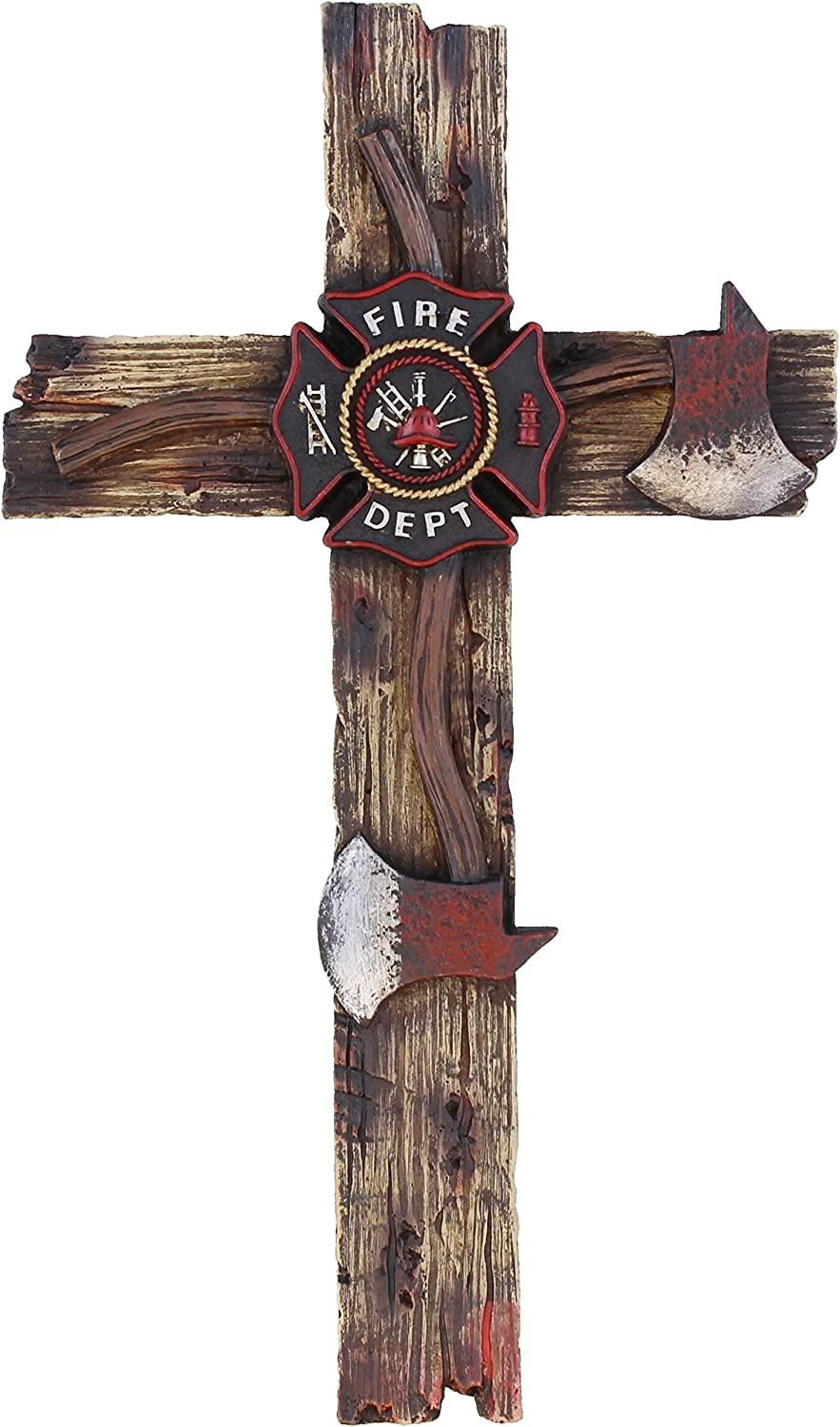 "Colors of Rainbow Decorative Fire Department 12"" Wall Cross - Fireman Firefighter Axe Decor"