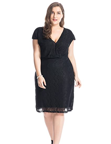 aa5bcb7ab0a Chicwe Women s Plus Size Lined Cross Over V Neck Solid Lace Dress - Knee  Length Casual