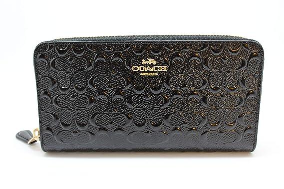 9406df767822 Coach Accordion Zip Wallet in Signature Debossed Patent Leather - F54805  (Black)