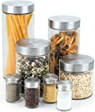 Cook N Home 8-Piece Glass Canister and Spice Jar Set with Lids