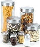 Cook N Home Juego de contenedores de vidrio y frascos para especias, 8 piezas