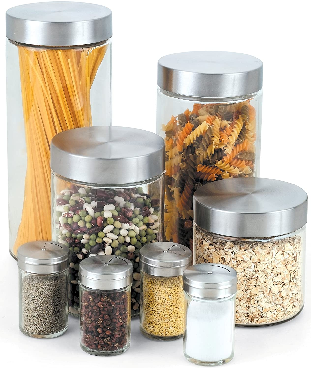 Cook N Home Glass Canister and Spice Jar Set, 8-Piece NC-00240