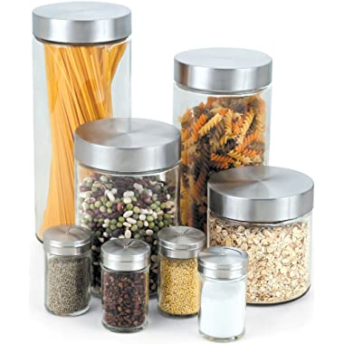 Cook N Home 8-Piece Glass Canister and Spice Jar Set with Lids, Round Sides, Clear