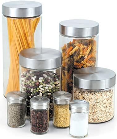 Cook N Home Glass Canister And Spice Jar Set, 8 Piece